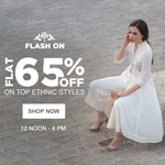 Flat 65% off on top ethnic styles from 12 noon - 4 pm + Extra 20 % off @ Jabong