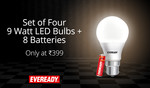 back again || Eveready 9 Watt Cool Daylight 4 Bulbs With 8 AA Batteries Free @399