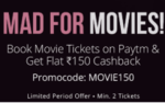 Rs150 cashback on movie tickets at Paytm