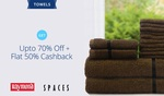 Paytm: Premium Towel Upto 70% Off + Flat 50% Cashback