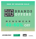 End of season sale Big brands offer : Get up to 60% off on menswear