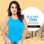 Get 5 at Rs.999 on Tank Tops & Leggings