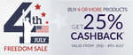 Buy 4 or more products get 25% cashback