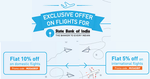 Flat 10% off upto Rs.5,000 on Flights