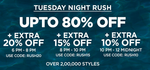 Tuesday Night Rush : Upto 80% off  + Extra 20% OFF + Additional Cash back from ICICI Cards