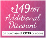 Flat Rs.149 off on orders of Rs.1299 & above