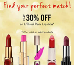 Flat 30% off on L'Oreal Paris Lipsticks