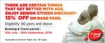 Get 15% discount on base fare for Senior Citizen