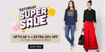 Saturday Super Sale: Upto 60% Off Plus Extra 20% Off on Tops, Dresses & More