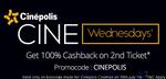Cinepolis Cinemas - Get 100% Cashback upto ₹150 on the 2nd Movie ticket.