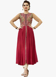 Kvsfab Fuchsia Embroidered Anarkali