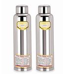 Paanjo Silver Stainless Steel 900 ML Fridge Bottle - Set Of 2