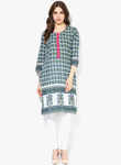 Sangria 3 4th sleeves printed kurta with embroidered placket detail 5425 2262291 1 pdp slider l