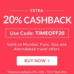 Extra 20% Cashback on  travel offers