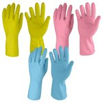 Primeway Rubberex Just Gloves Flocklined Rubber Hand Gloves Combo Pack