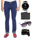 Hultung Mens Denim Regular Fit Jeans With Free Wallet-watch-sunglass-belt (Free shipping)