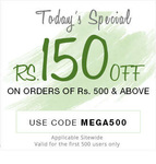 Rs.150 off on all orders above ₹500 ! (Applicable site wide)