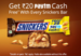 Rs 20 Paytm cash on Snickers worth Rs 35