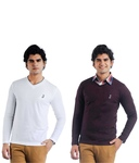 Eprilla Pack of 2 White & Purple Full Sleeve Sweaters