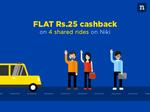 Rs.25 cashback on 4 Cab Rides on Niki App (No Minimum Value)