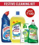 Festive Cleaning Kit- Harpic Original 1 Ltr+ Lizol Citrus 975ml + Dettol Handwash 215Ml+ Dettol Kitchen Gel Lime 400 Ml