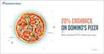 Get 20% cashback when you pay with Freecharge on Domino's Pizza discount offer