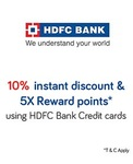 (Every Friday) 10% instant discount using HDFC Bank Credit Cards