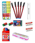 Nataraj Class Combo 1 (20 Nataraj Picture Pencil, 5 Classic Pen, 2 Sharpener, 2 Eraser, 1 Apsara Wax Crayon, 1 Nataraj 10 Shades Pencil Colour, 1 Scale 15cm, Goelsons Geometry Box)