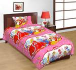The Great Indian Shop Cotton Cartoon Single Bedsheet  (1 SINGLE BED PRINCESS/ BARBIE BEDSHEET MADE OF EGYPTIAN COTTON WITH 1 PILLOW COVER, Pink)