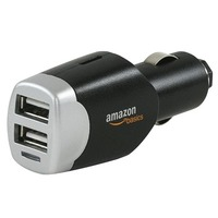 AmazonBasics Dual USB Car Charger for Apple and Android Devices (Black)