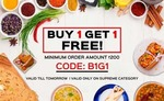 Buy 1 and get 1 free on food order above Rs.200