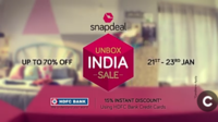 Snapdeal unbox India Sale (21st-23rd Jan)  15% Instant Discount using HDFC Credit Cards