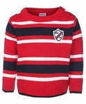 Babyhug Full Sleeves Sweater Red - Stripes Pattern - Firstcry.com