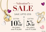Caratlane valentine's day offer : Get up to 25% off + extra 10% off on orders above Rs.30,000 + extra 5% off on orders above Rs.15000