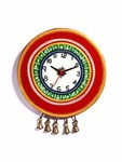 Red Wooden Tribal Print Wall Clock With Artificial Bell Motif
