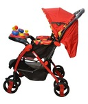 Platinum Overseas Red Stroller with Mosquito Net Leg Cover Food Musical Trey and Wheel Lock System