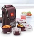 Cello Max Fresh Brown Polypropylene 300 ML Lunch Boxes with Bag - Set of 4