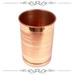 Pure Copper Laquer Coated Glass Tumbler, Ayurveda Herbal Medicinal Serveware, 300 ml (1 pc)