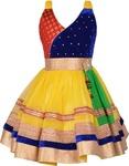 (Hurry only 1 Left) Aarika Girls Midi/Knee Length Party Dress (Gold, Sleeveless)