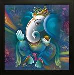SAF 'Ganesh Religious' Framed Painting (Synthetic, 29.2 cm x 2 cm x 29.2 cm)