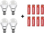 Eveready 9W LED Bulb Pack of 4 with Free 8 Batteries  (White, Pack of 4)