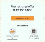 Amazon :- Flat 75% cash back upto 50rs on 1st ever mobile recharge