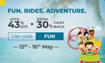 Flat 30% cashback on activities, Movies & Events, spa & salon offers