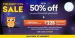 Night Owl Sale :- Upto 50% off + Additional 225₹ instant discount on min transaction of 1500₹ using ICICI Cards