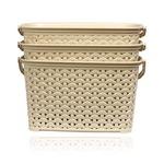 BMS Lifestyle 3 Piece Plastic Basket, 3.8 Liters, Ivory (BMSAMYA43)