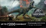 Paytm in book movie tickets Jurassic world at 50% CB max 300rs