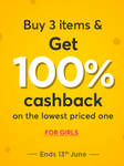 100% Cashback on Girls Fashion