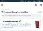 Zomato- flat 50% off on food  order upto Rs. 150