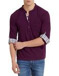 Elaborado Men's Henley Neck Tshirt - Imperial Purple - XXL - E