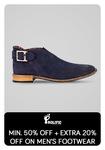Tatacliq : Get minimum 50% + extra 20% off on men's footwear.